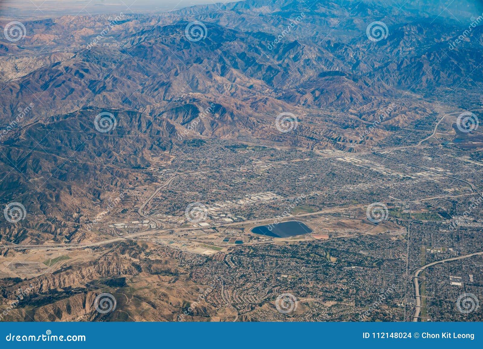 Vue aérienne de Van Nuys, Sherman Oaks, Hollywood du nord, studio C