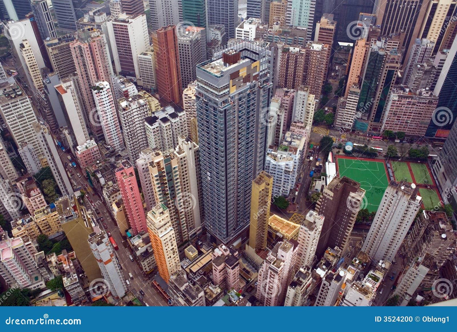 Vue a rienne de ville de hong kong photo stock image for Piscine des 3 villes hem