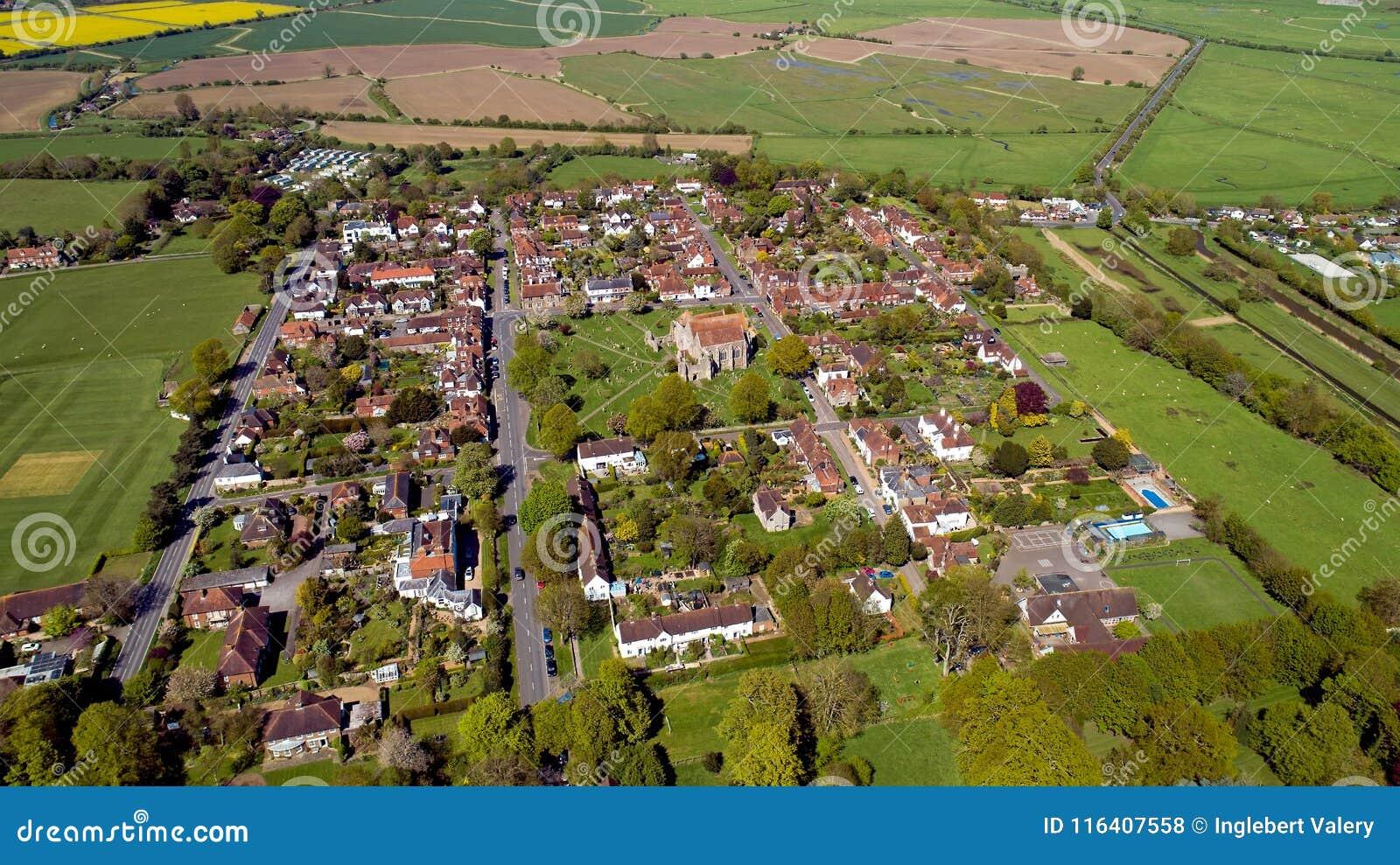 Vue aérienne de Winchelsea dans le Sussex est, la plus petite villa