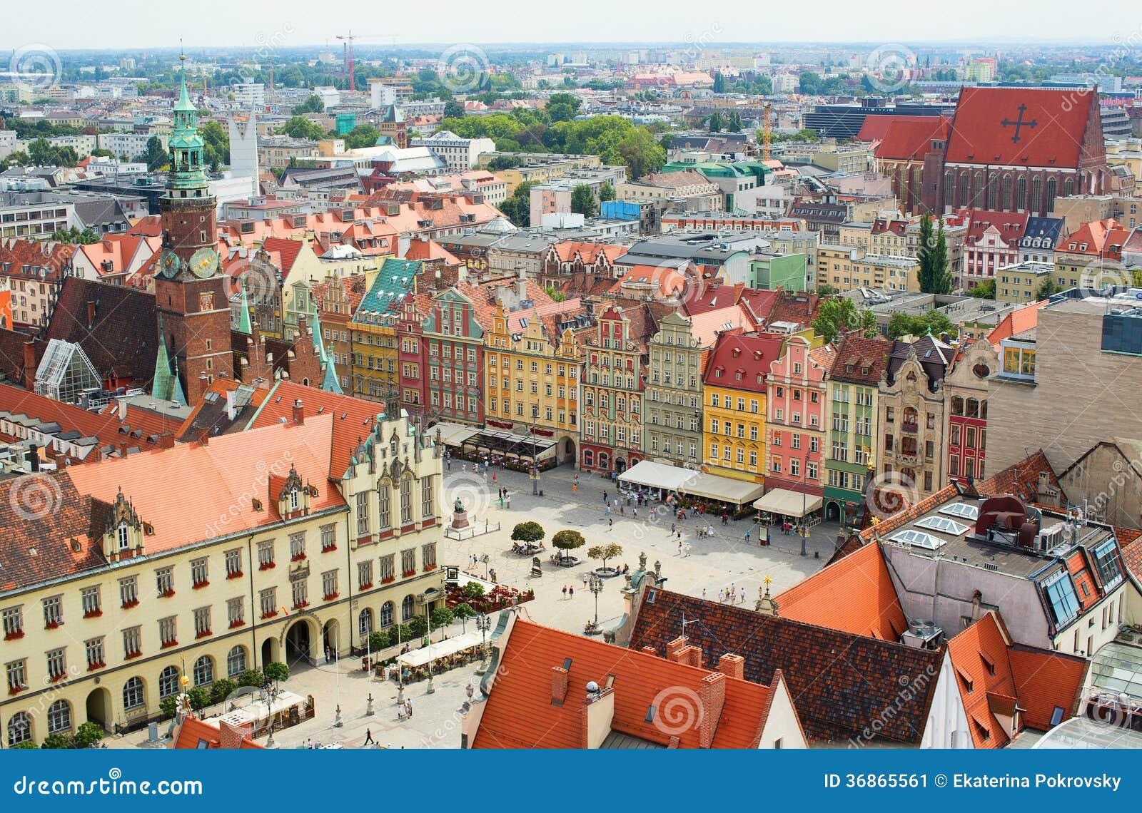 Vue aérienne de Wroclaw