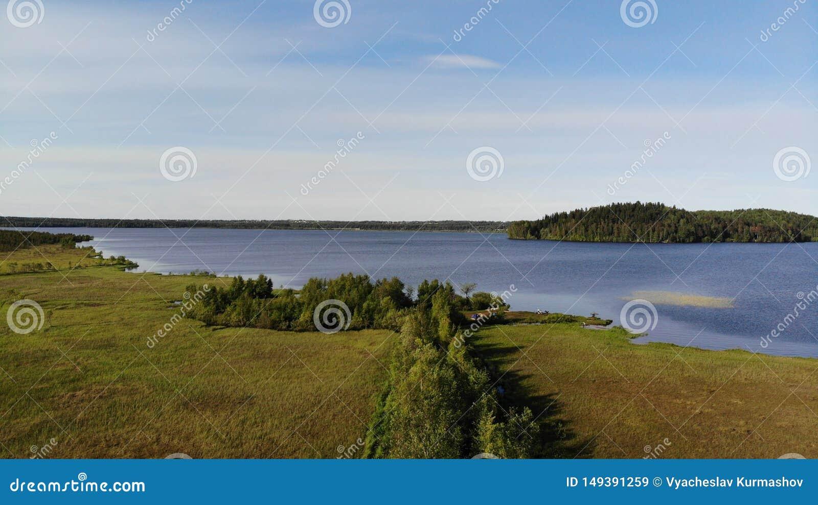 Vue a?rienne des lacs bleus et des for?ts vertes un jour ensoleill? d ?t? dans Kavgolovo, Toksovo Rivage de r?servoir d eau avec