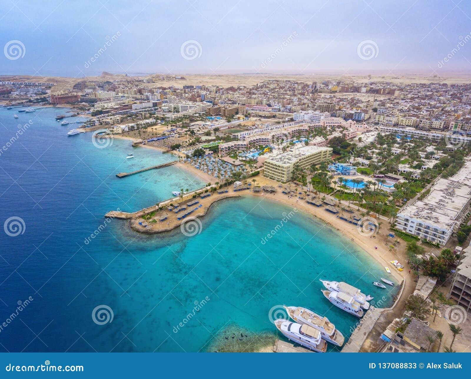Vue aérienne sur la ville de Hurghada, Egypte