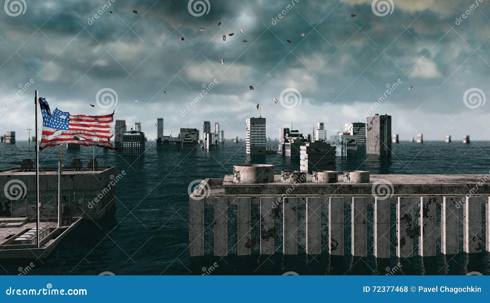 Vue apocalyptique de l eau inondation urbaine, drapeau de l Amérique Etats-Unis storm 3d rendent