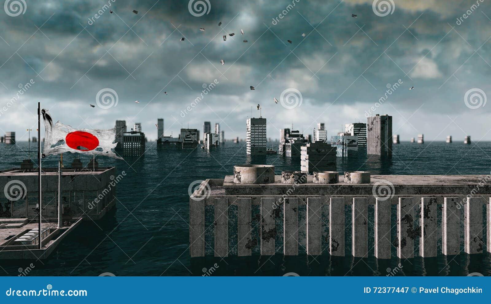 Vue apocalyptique de l eau inondation urbaine, drapeau du Japon storm 3d rendent