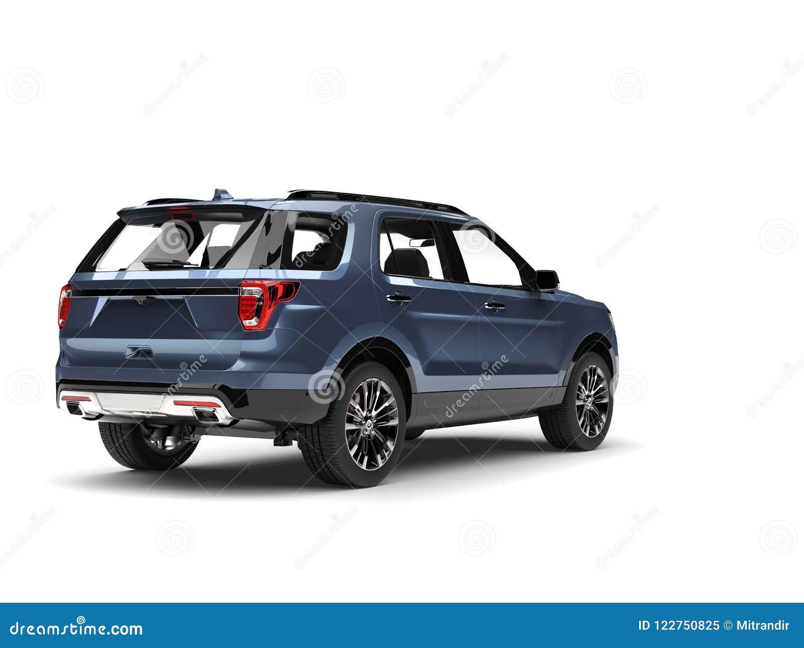 Vue arrière automobile moderne métallique bleue fraîche de SUV