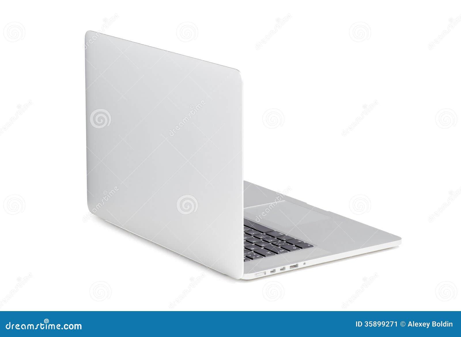 Vue arrière de l tourné à un ordinateur portable moderne de léger angle