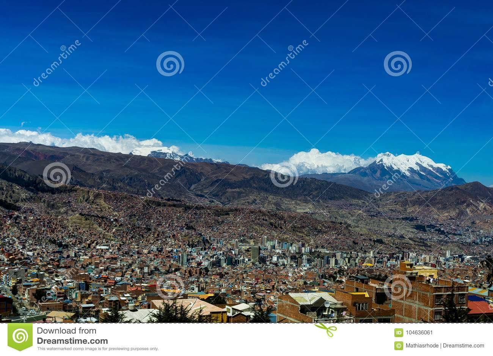 Vue au-dessus de La Paz Bolivia
