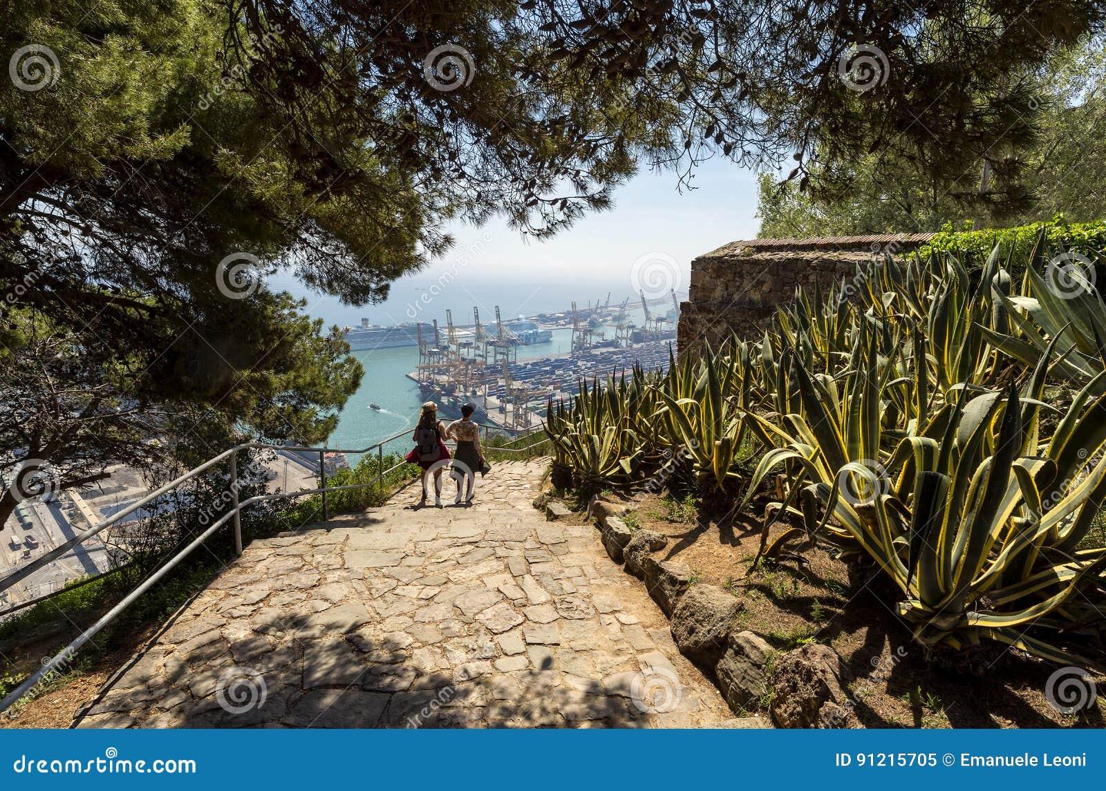 Vue au-dessus de la ville et du port de la colline de Montjuic, paysage urbain de bord de la mer, Barcelone, Espagne