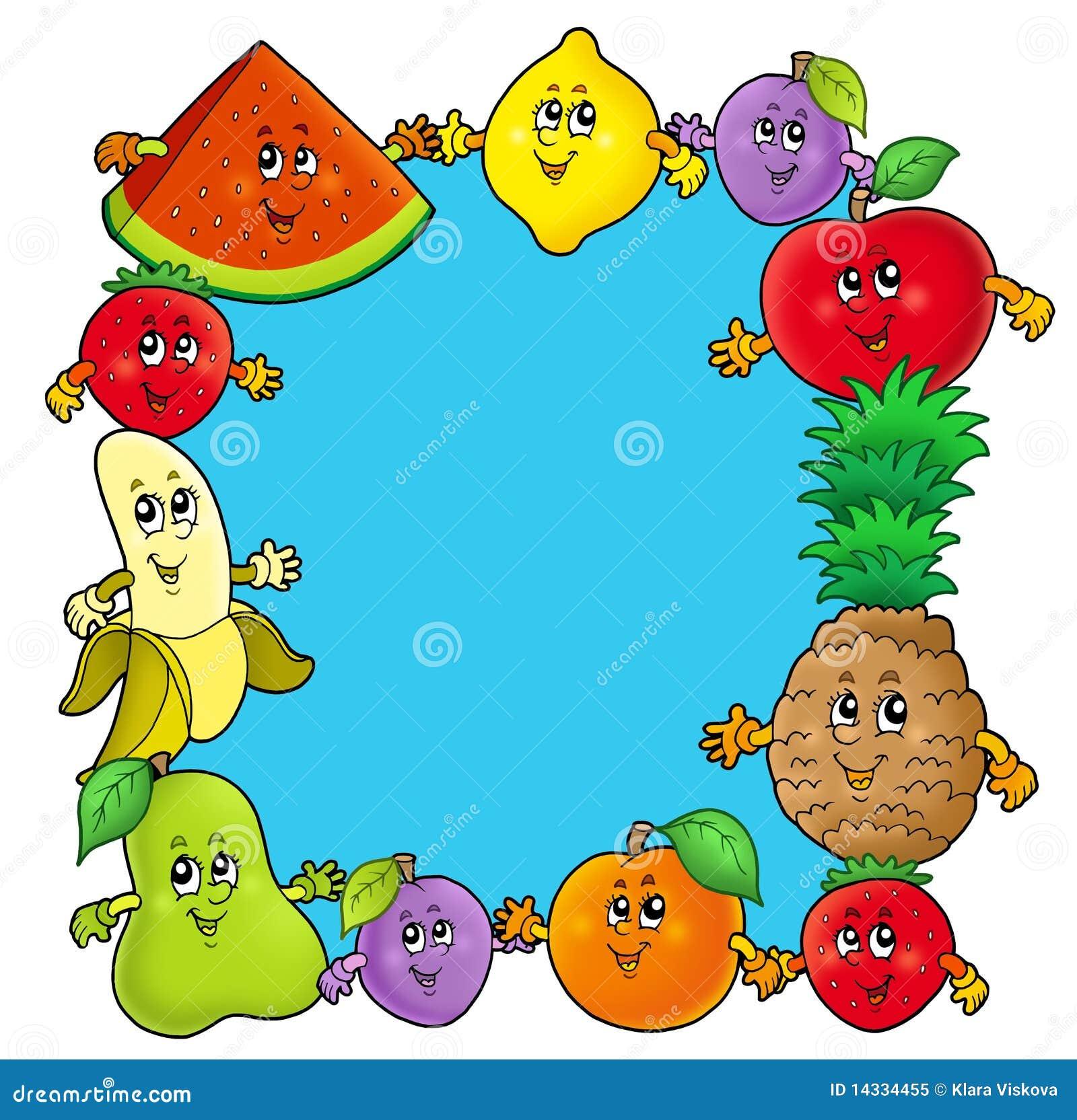 Vue avec de divers fruits de dessin anim illustration - Dessins fruits ...
