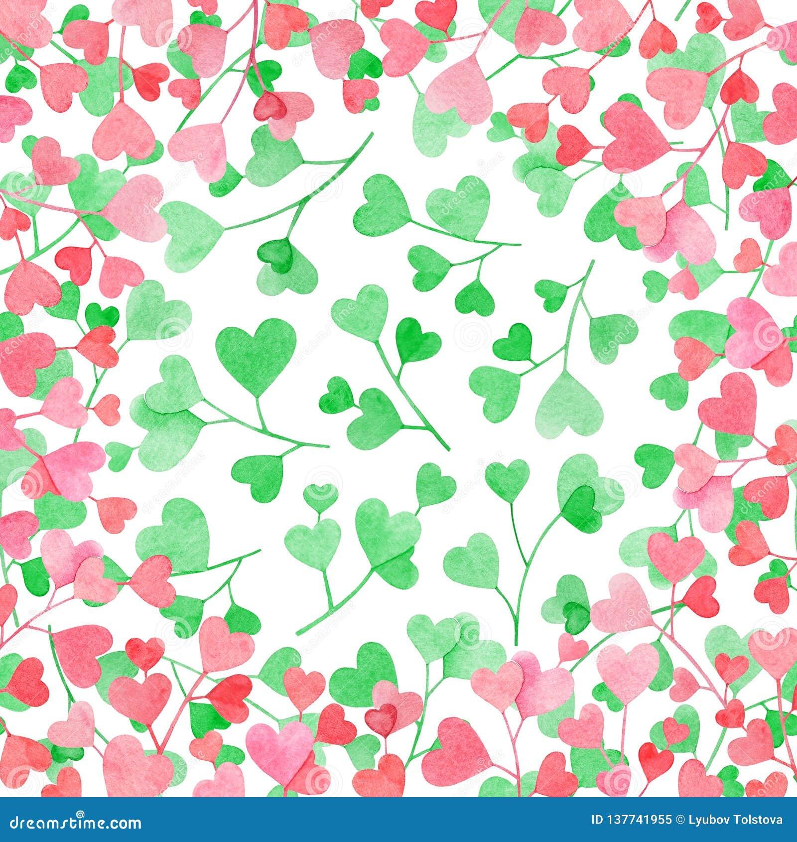 Vue avec des branches d aquarelle avec les feuilles en forme de coeur roses sur le fond blanc avec les coeurs verts