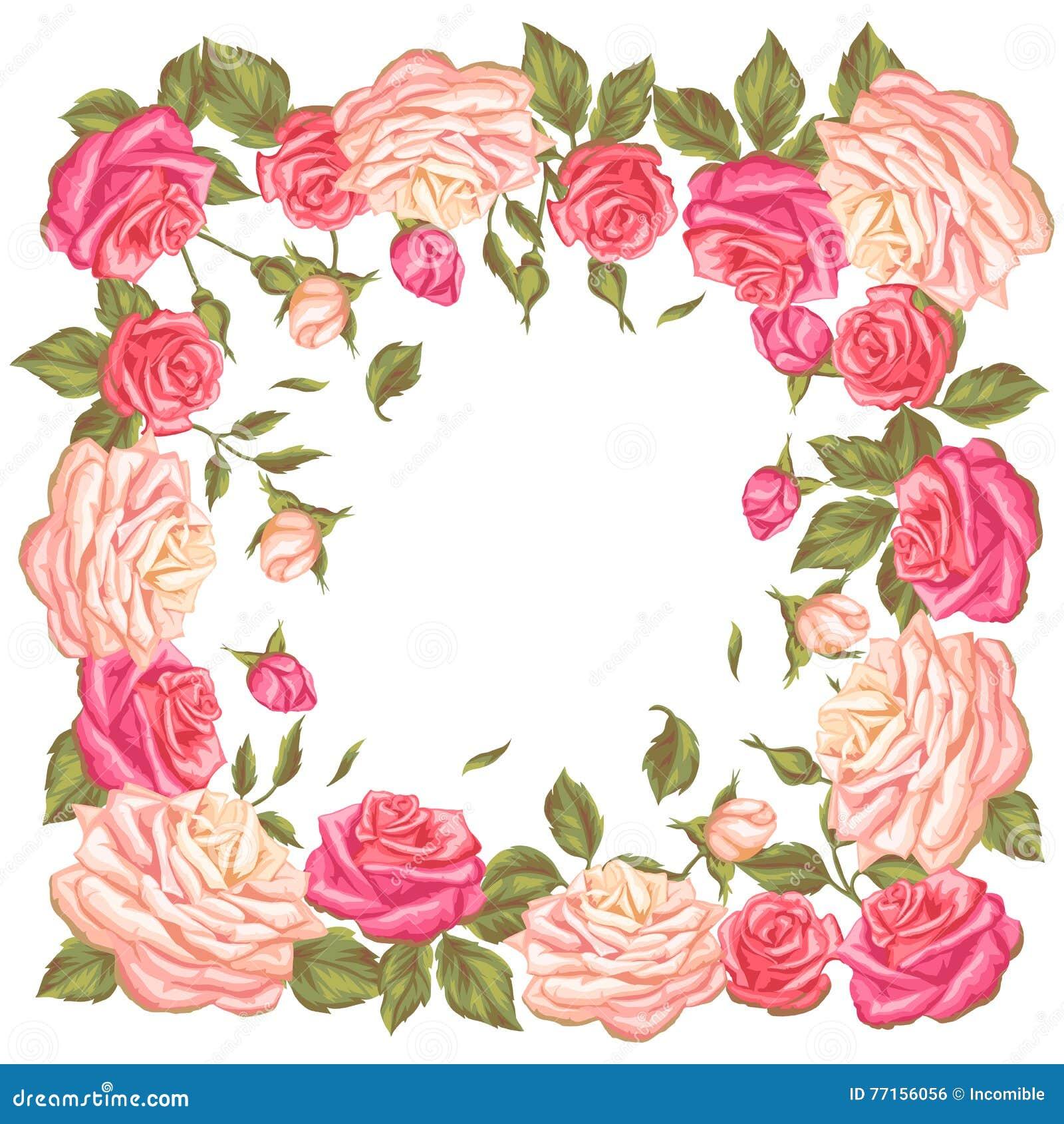 Vue avec des roses de vintage Rétros fleurs décoratives Image pour épouser des invitations, cartes romantiques, livrets