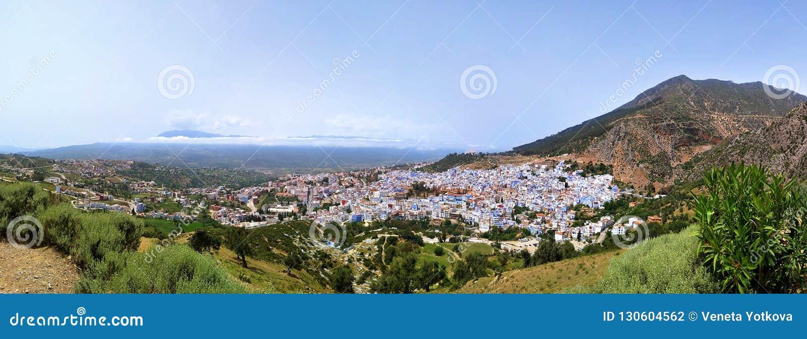 Vue bleue de panorama du Maroc Afrique de ville de Chefchaouen
