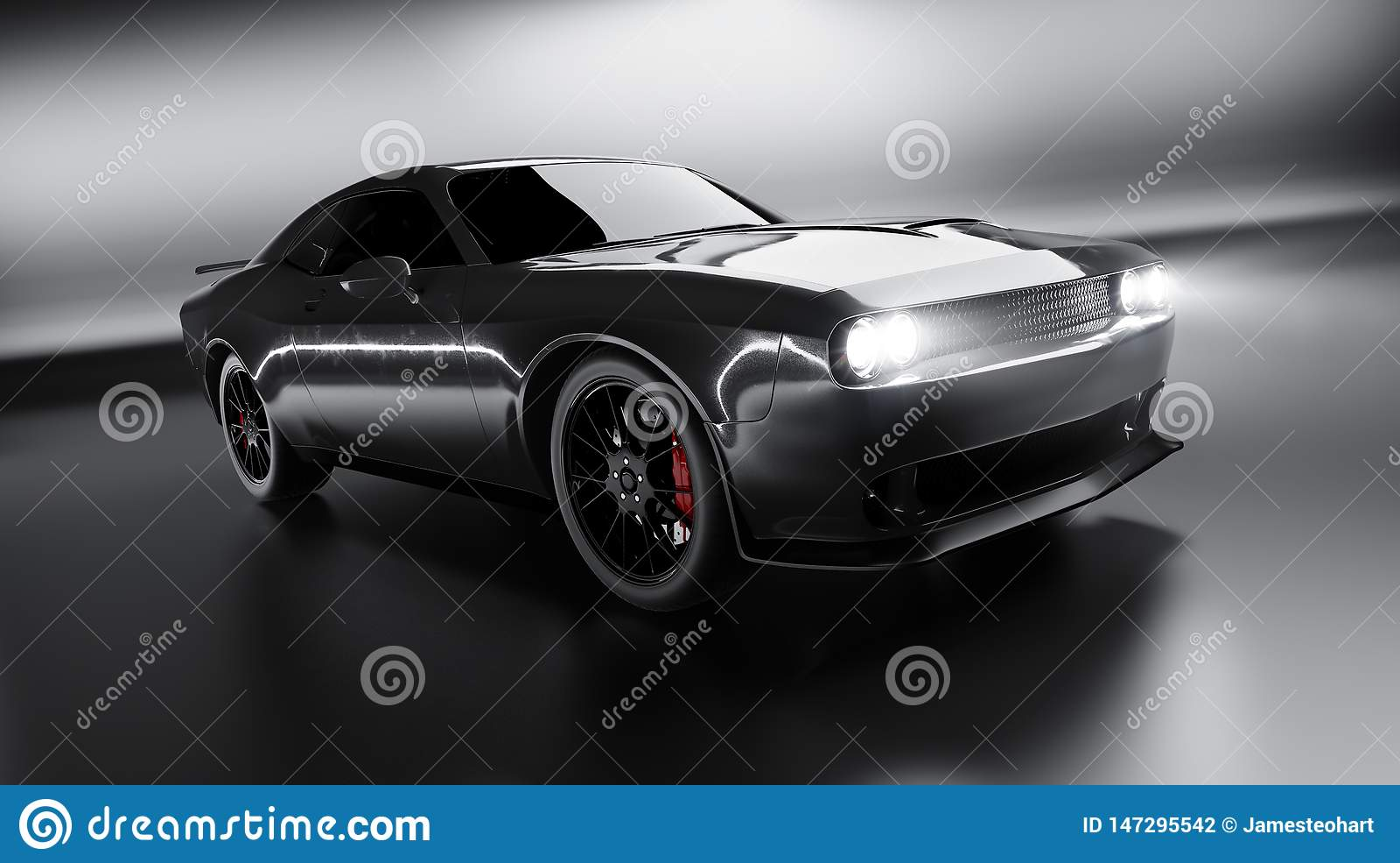 Vue d angle avant d une voiture américaine brandless noire générique de muscle