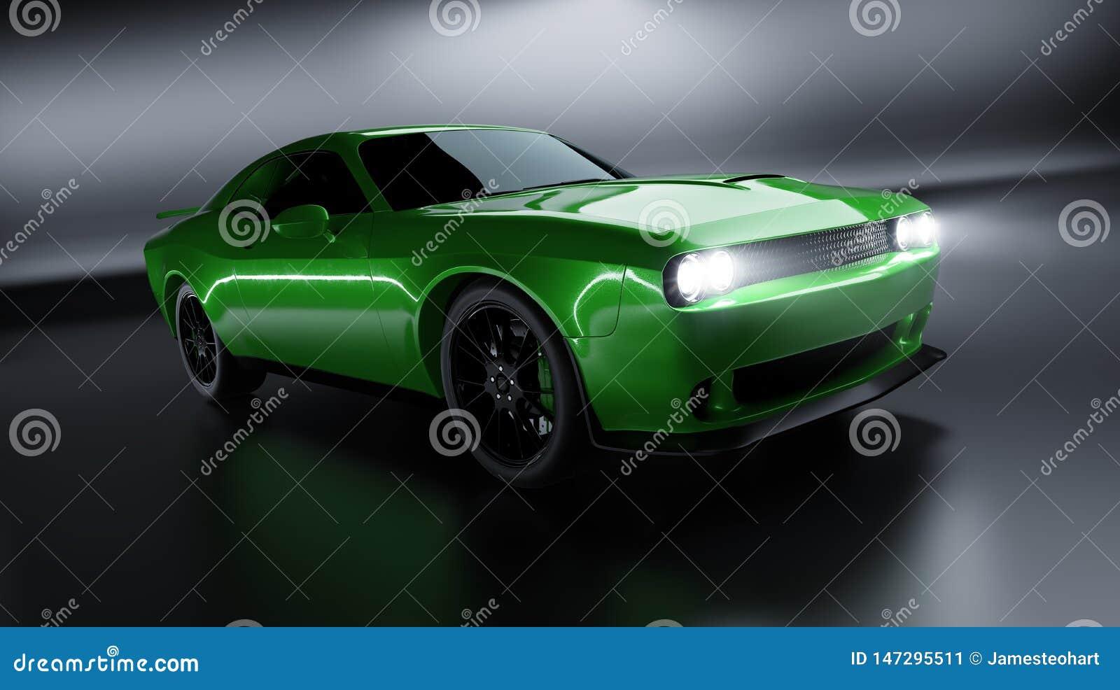 Vue d angle avant d une voiture américaine brandless verte générique de muscle