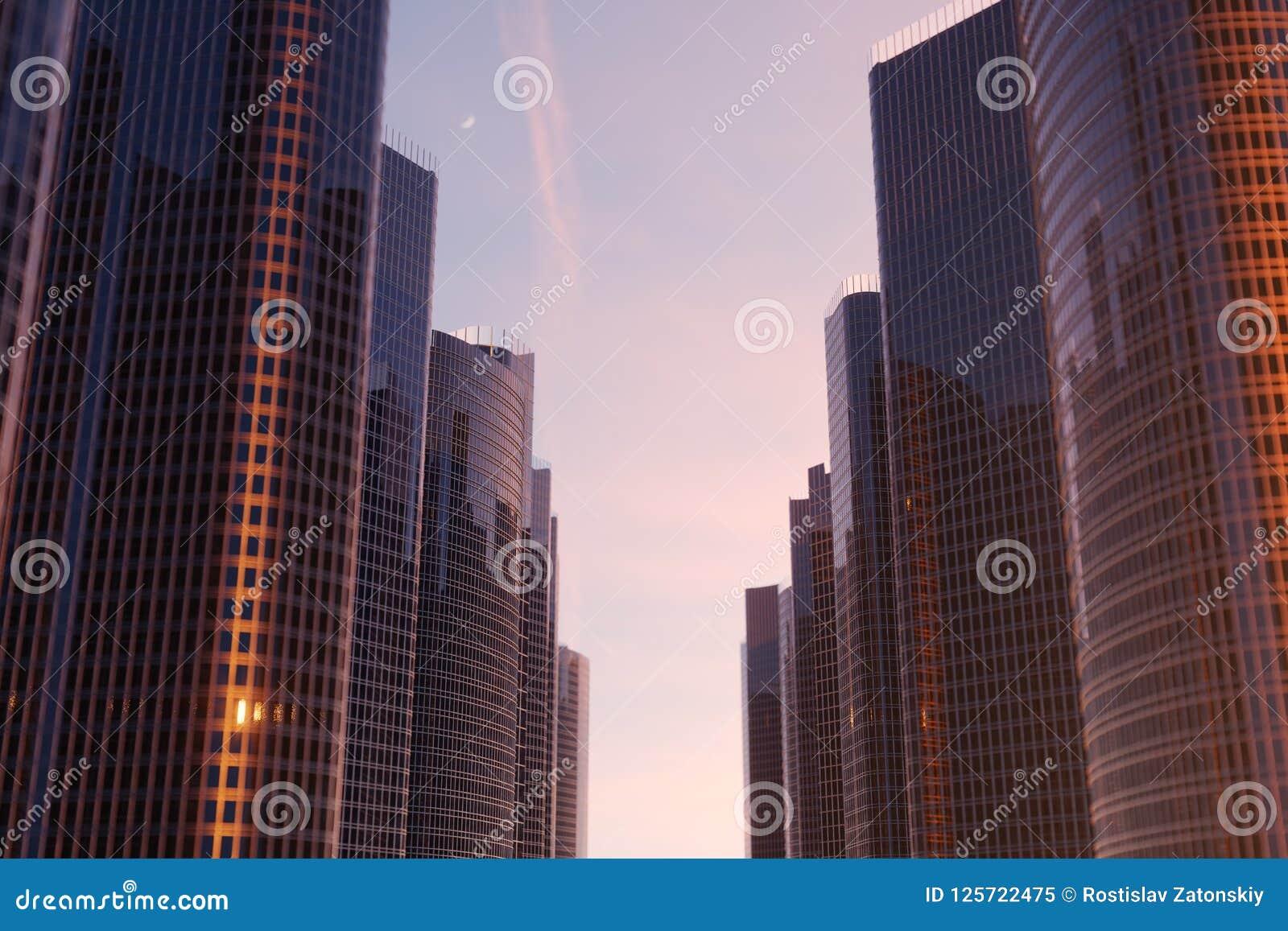 Vue d angle faible de l illustration 3D des gratte-ciel Gratte-ciel au coucher du soleil recherchant la perspective Vue inférieur