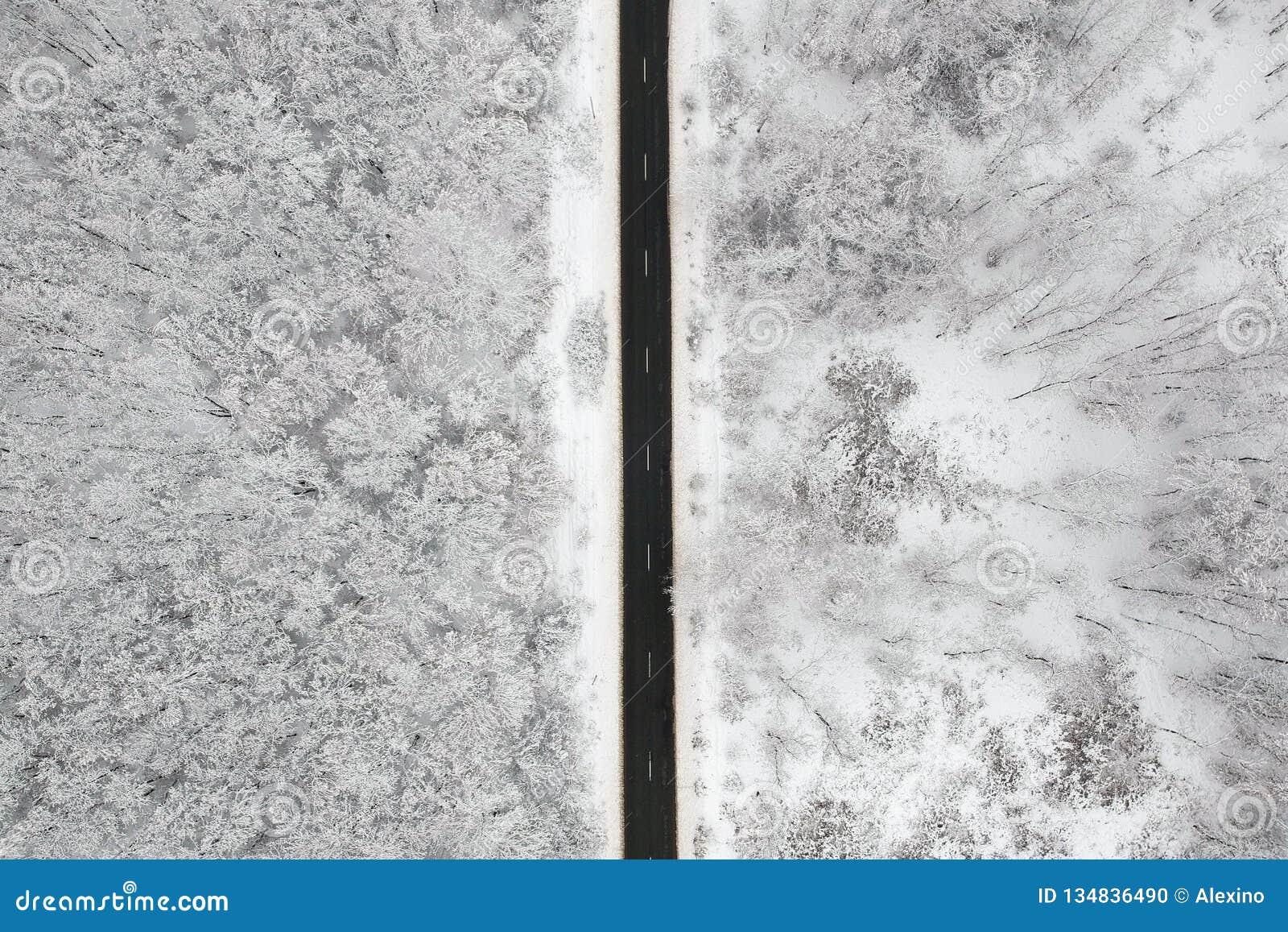 Vue d hiver d une route au milieu de la forêt