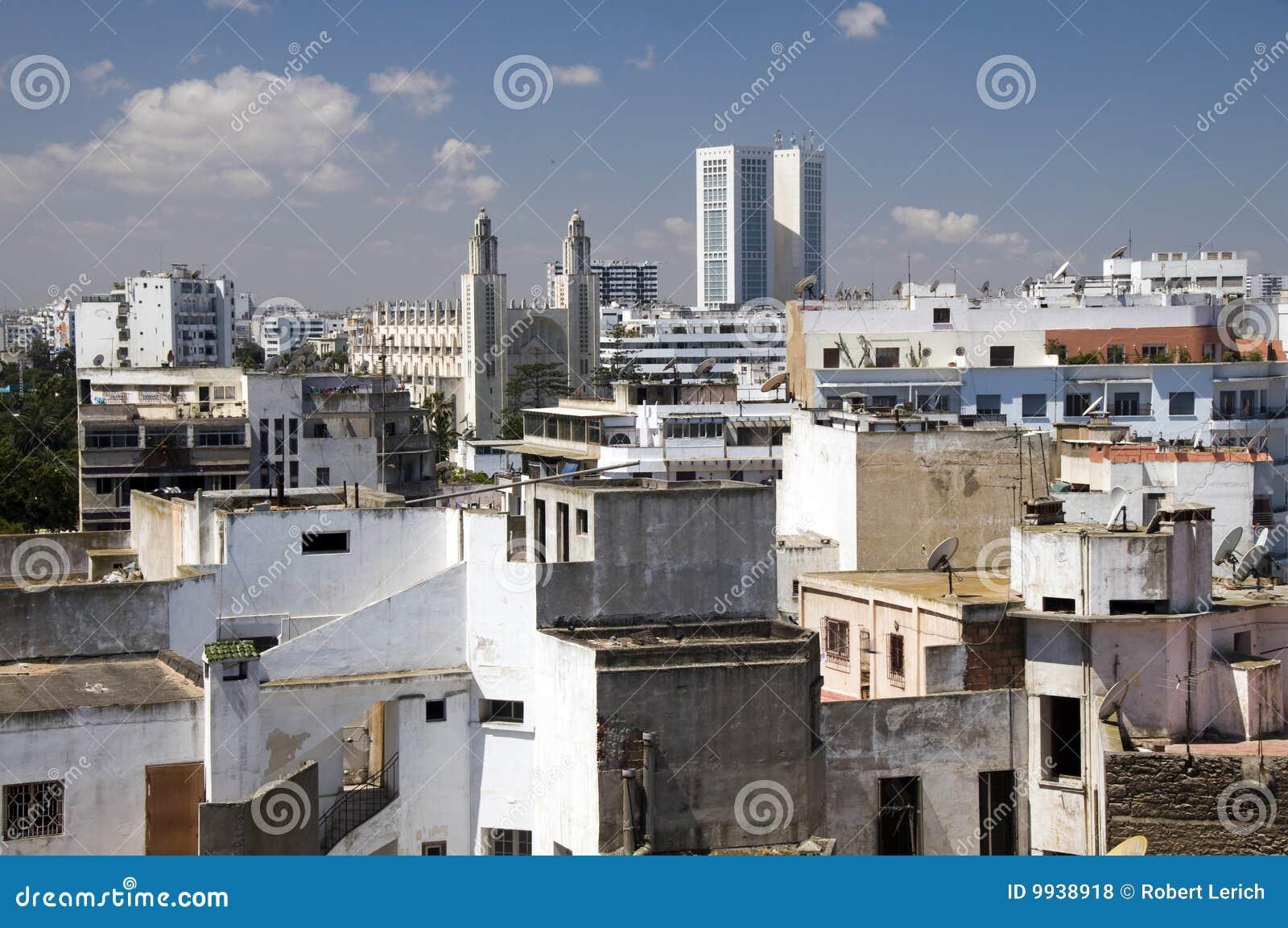 Vue d horizon de dessus de toit de Casablanca Maroc