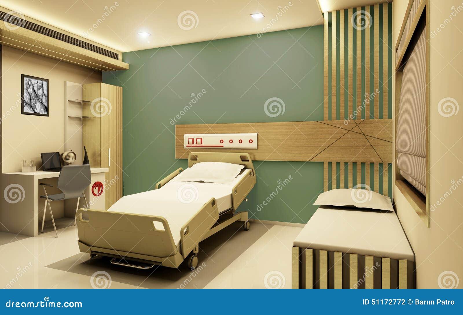 Vue 3D réaliste de chambre d hôpital