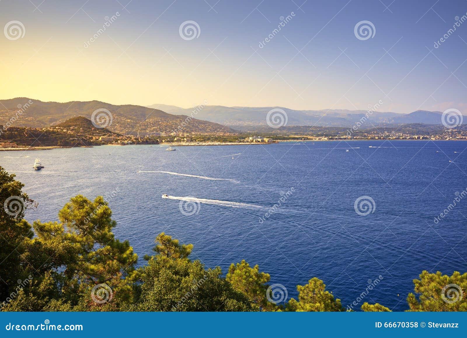 Vue de baie de Napoule de La de Cannes La Côte d Azur, Azure Coast, Provenc