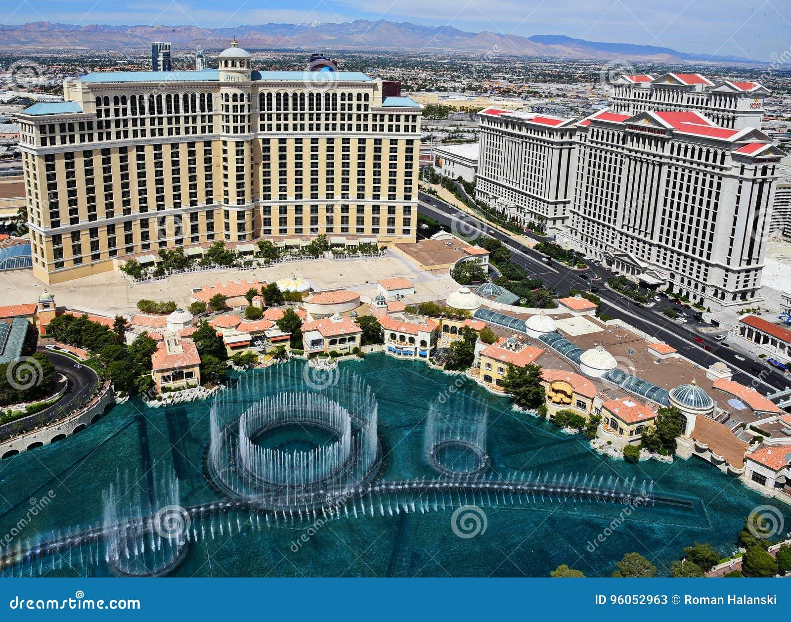Vue de Birdseye de Bellagio et des casinos de Caesars