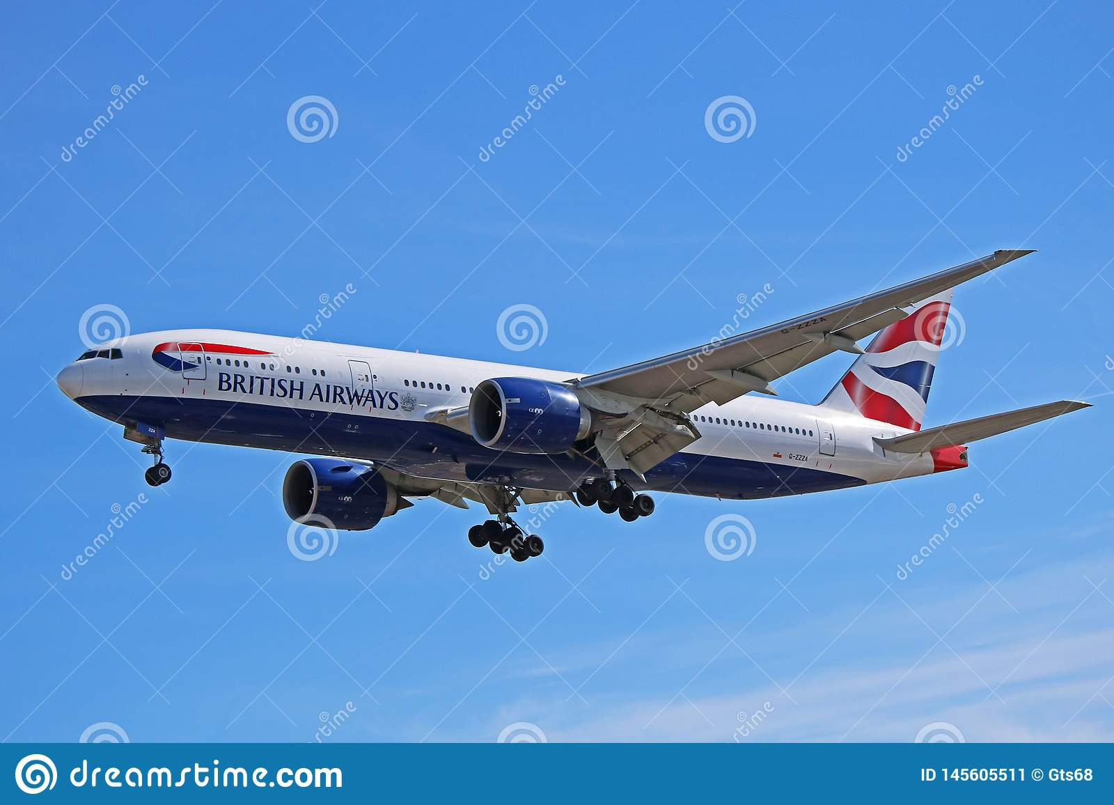 Vue de c?t? de British Airways Boeing 777-200