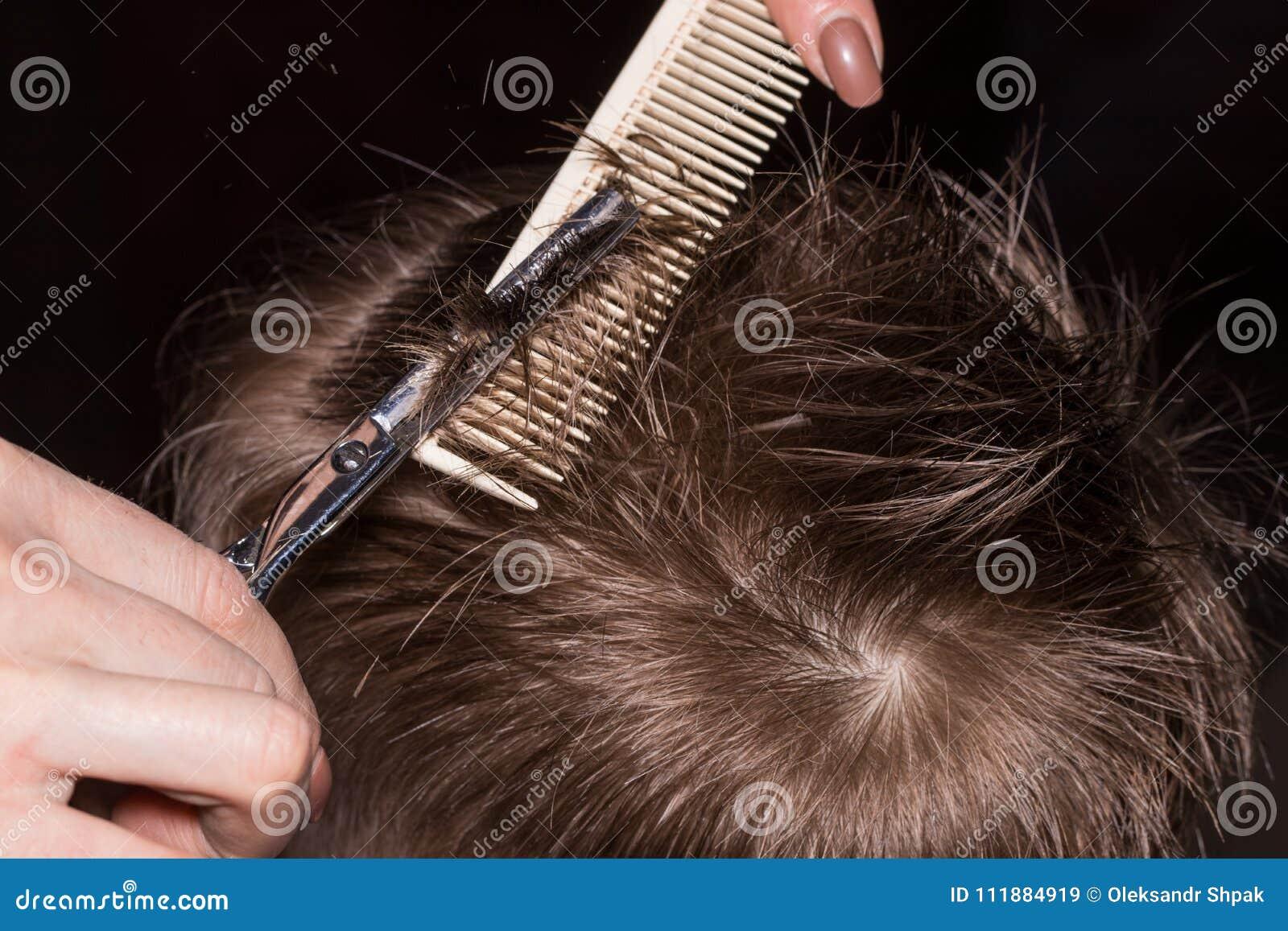 Vue de côté du petit garçon mignon obtenant la coupe de cheveux par le coiffeur à t