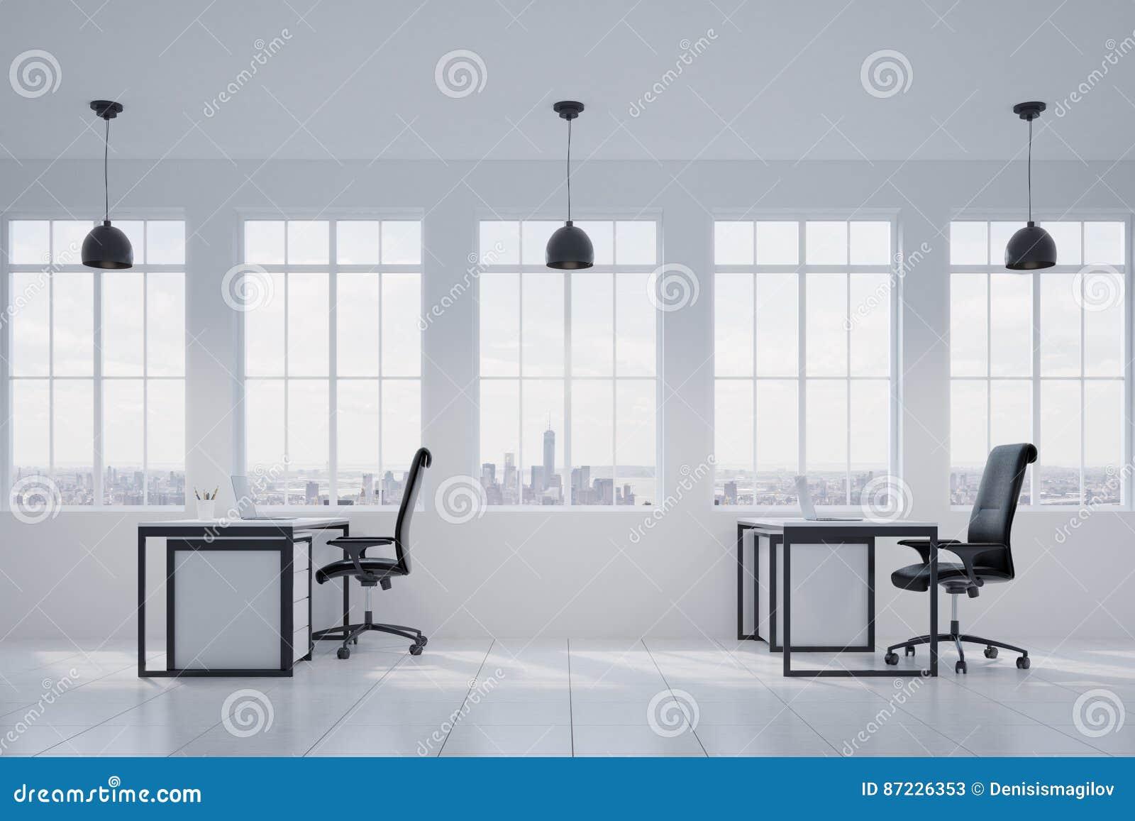 Vue de côté d un bureau blanc de président fenêtres illustration