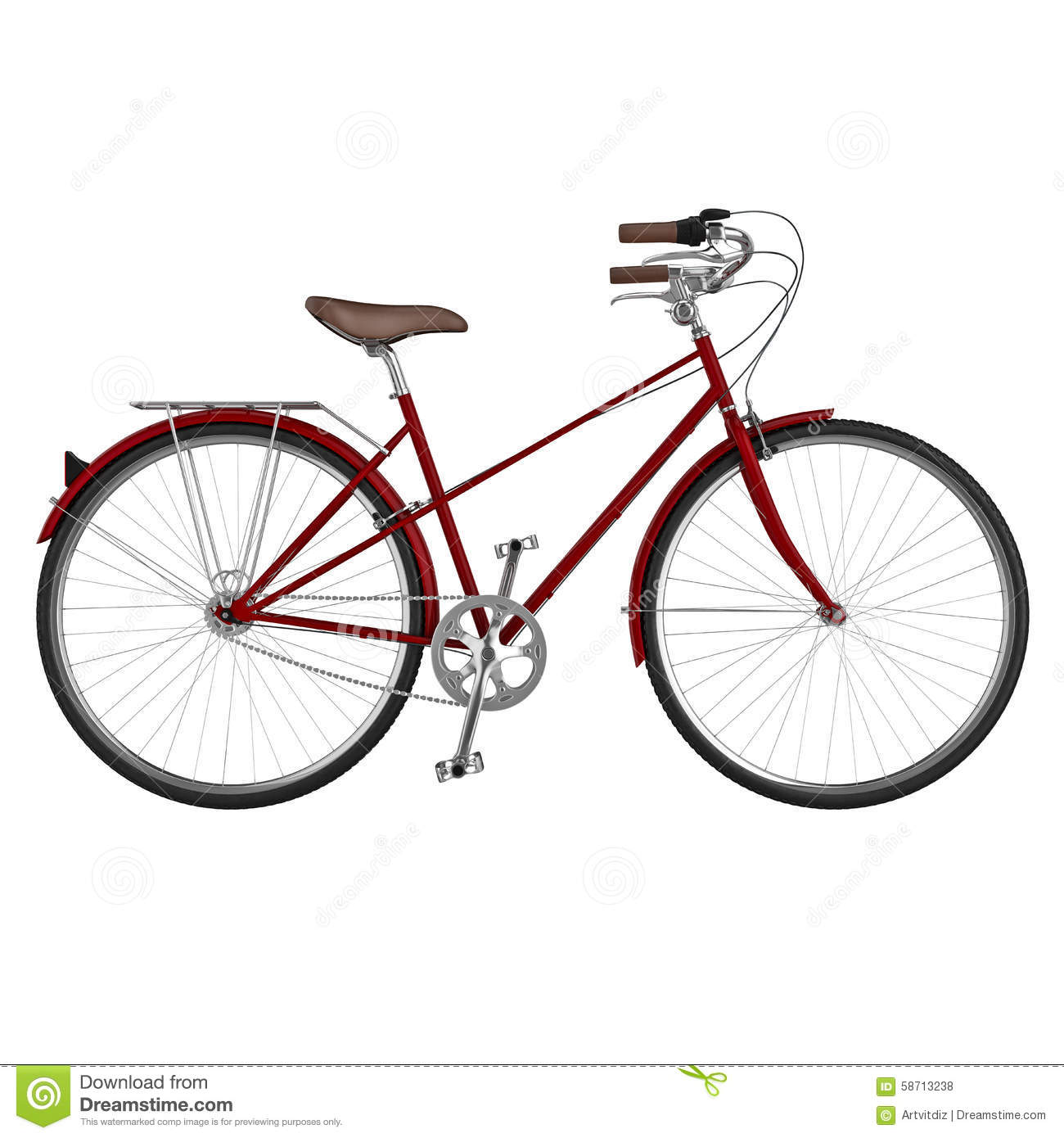 Vue de c t de bicyclette dessin 3d illustration stock - Bicyclette dessin ...