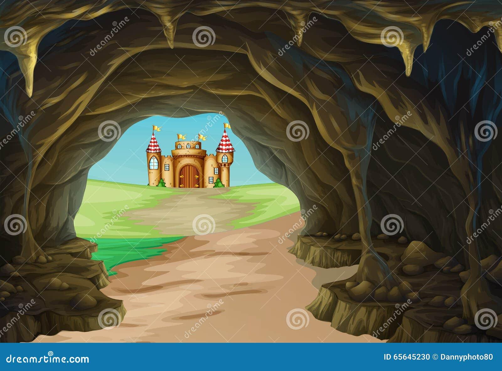 Vue de caverne et de château
