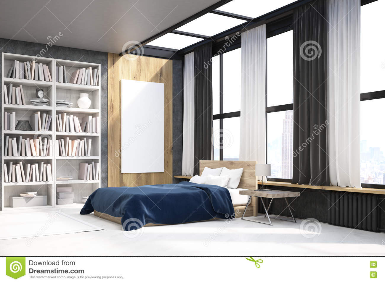 vue de chambre coucher avec l 39 affiche et la biblioth que illustration stock image 79996699. Black Bedroom Furniture Sets. Home Design Ideas