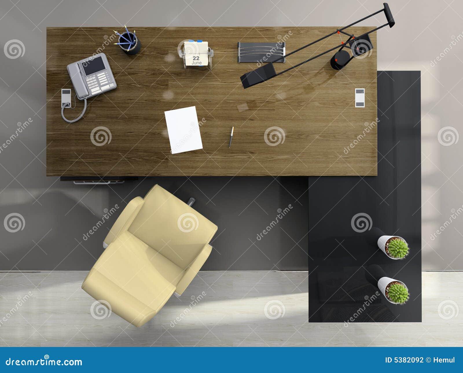 Vue de ci dessus du bureau photographie stock image 5382092 for Table vue de haut