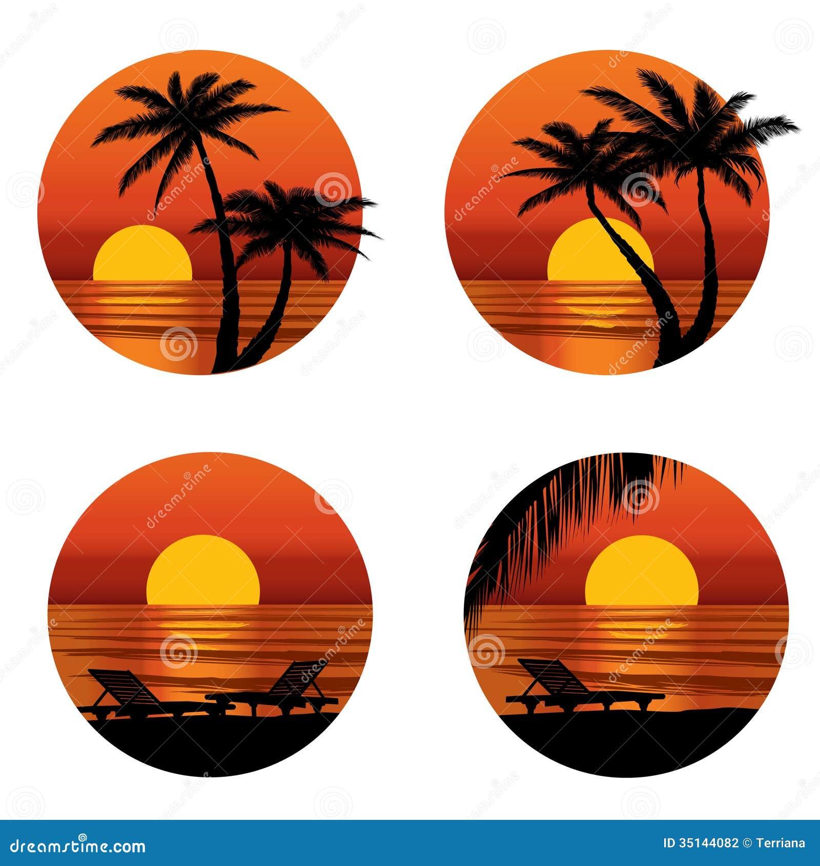 Vue de coucher du soleil en plage avec le palmier - Dessin coucher de soleil ...