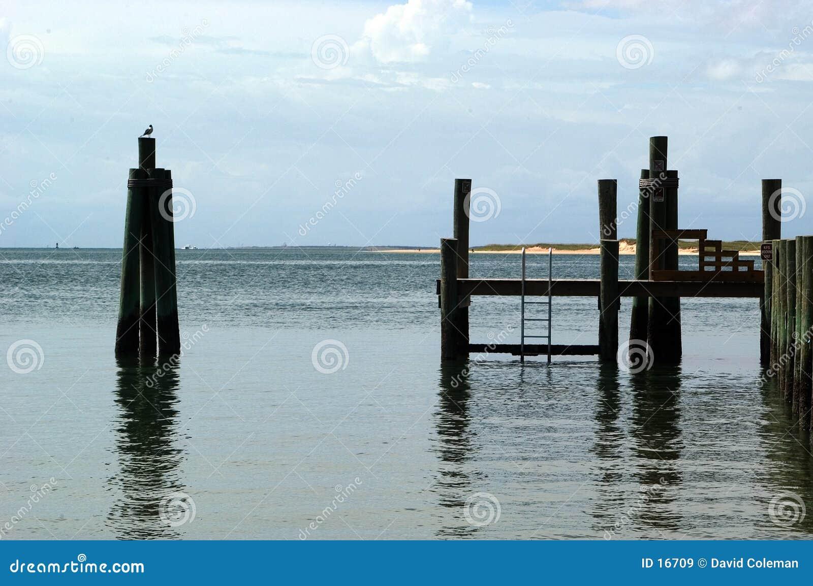Vue de dock de la plage