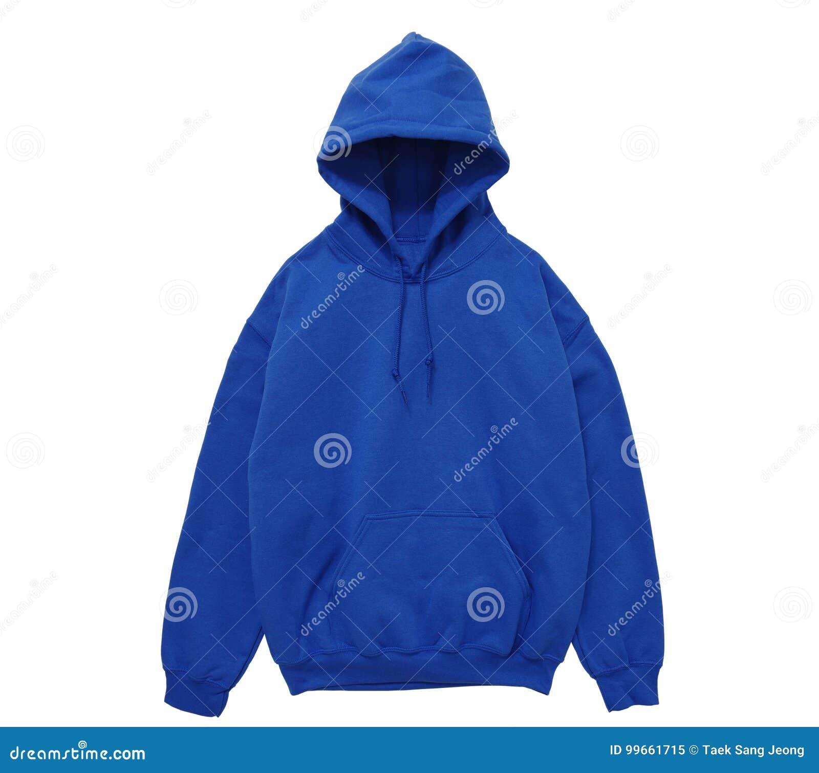 Vue de face bleue de hoodie de couleur vide de pull molletonné