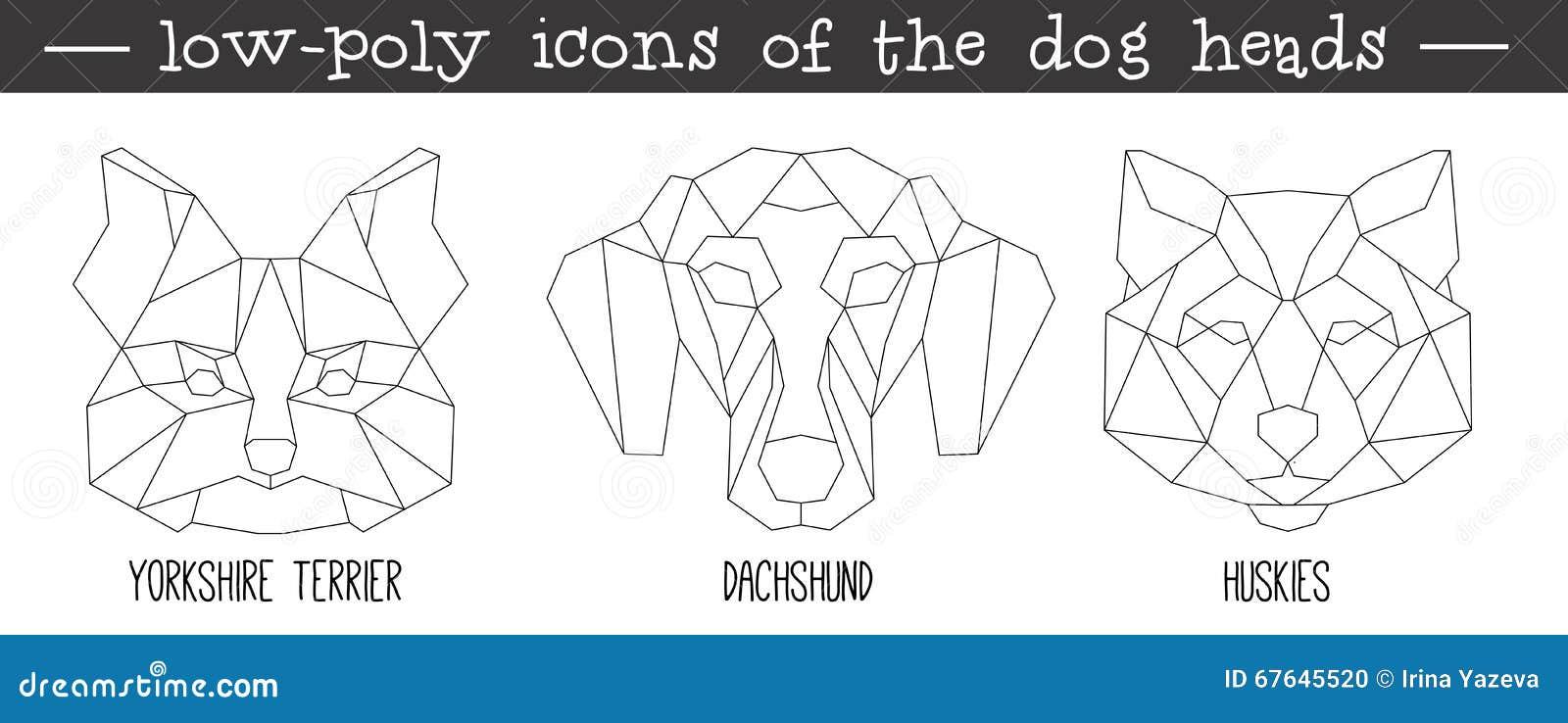 Vue de face d ensemble triangulaire d icône de tête de chien
