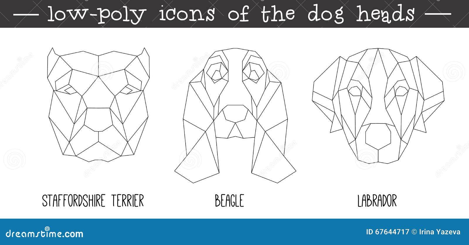vue de face d 39 ensemble triangulaire d 39 ic ne de t te de chien illustration de vecteur image. Black Bedroom Furniture Sets. Home Design Ideas