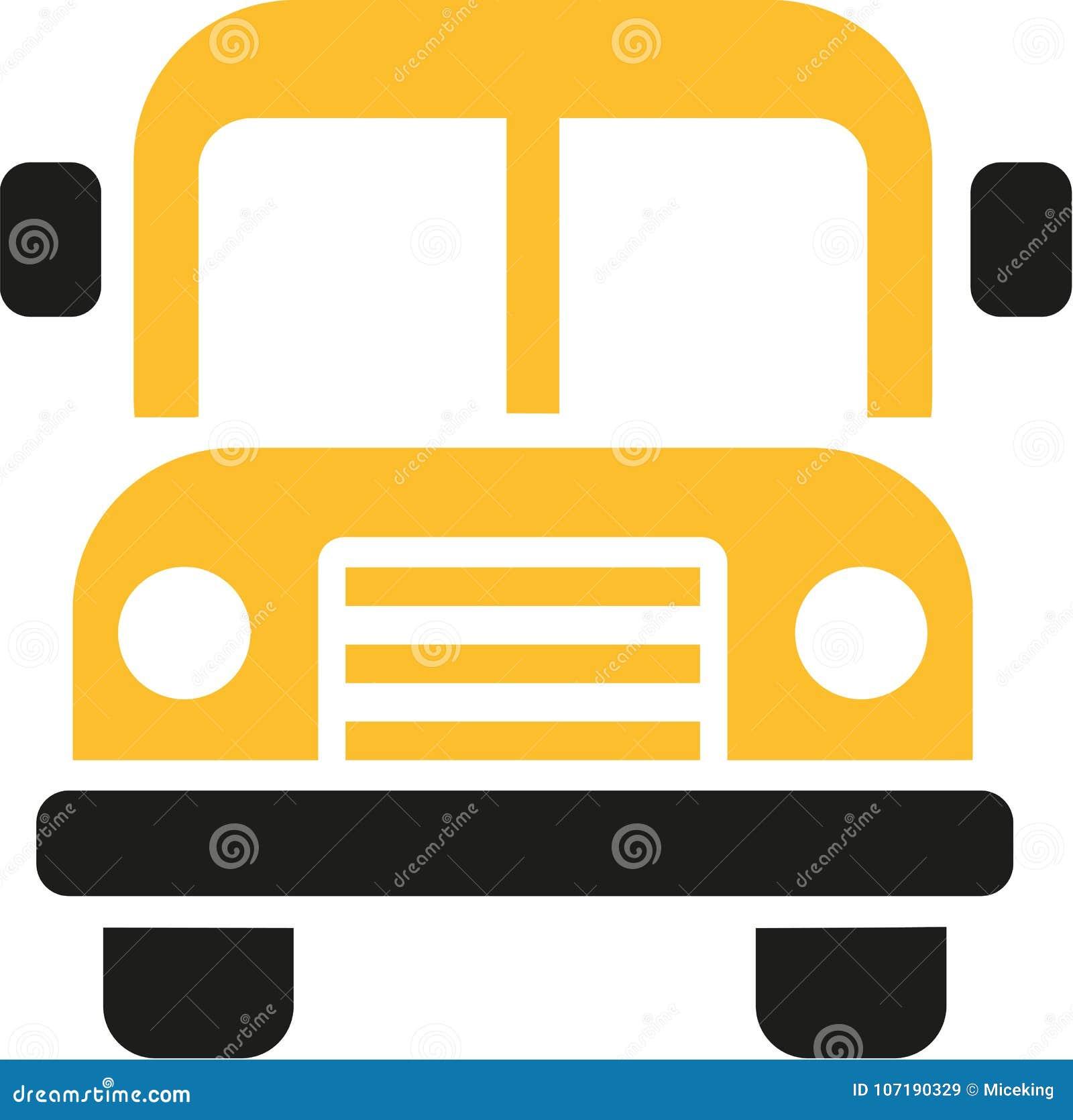 Vue de face d icône d autobus scolaire