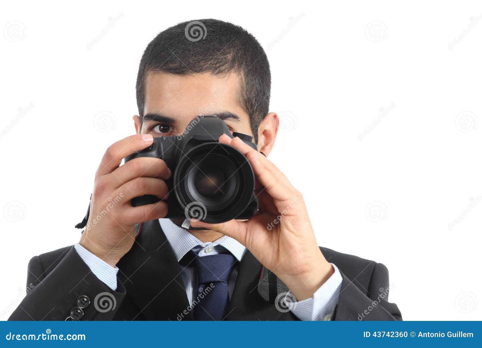 vue de face d 39 un photographe professionnel prenant une photographie photo stock image 43742360. Black Bedroom Furniture Sets. Home Design Ideas