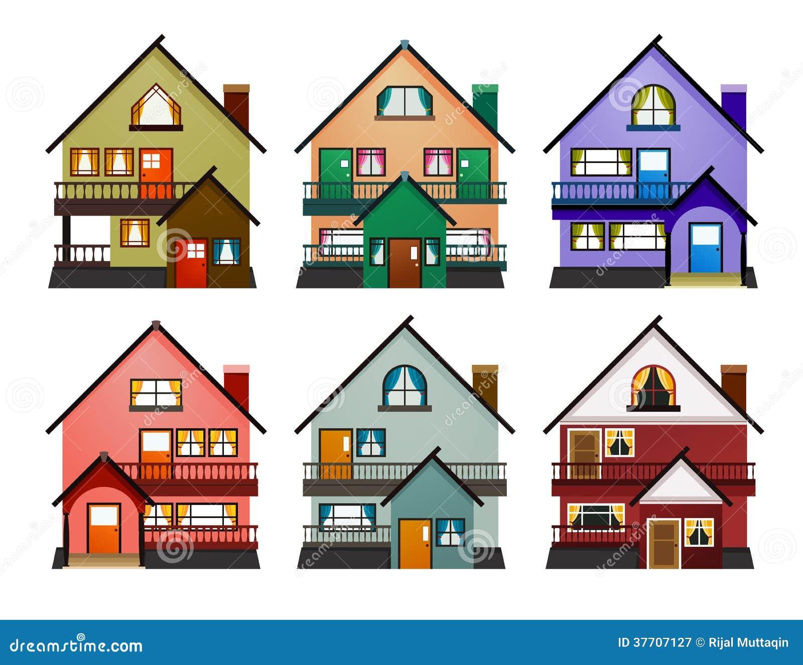 Vue de face de diverses maisons modernes illustration de - Google vue des maisons ...