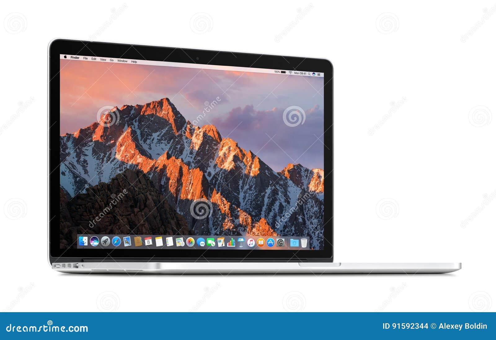 Vue de face de l tourné à une légère rétine 15 d Apple MacBook Pro d angle avec la sierra de MaOS sur l affichage