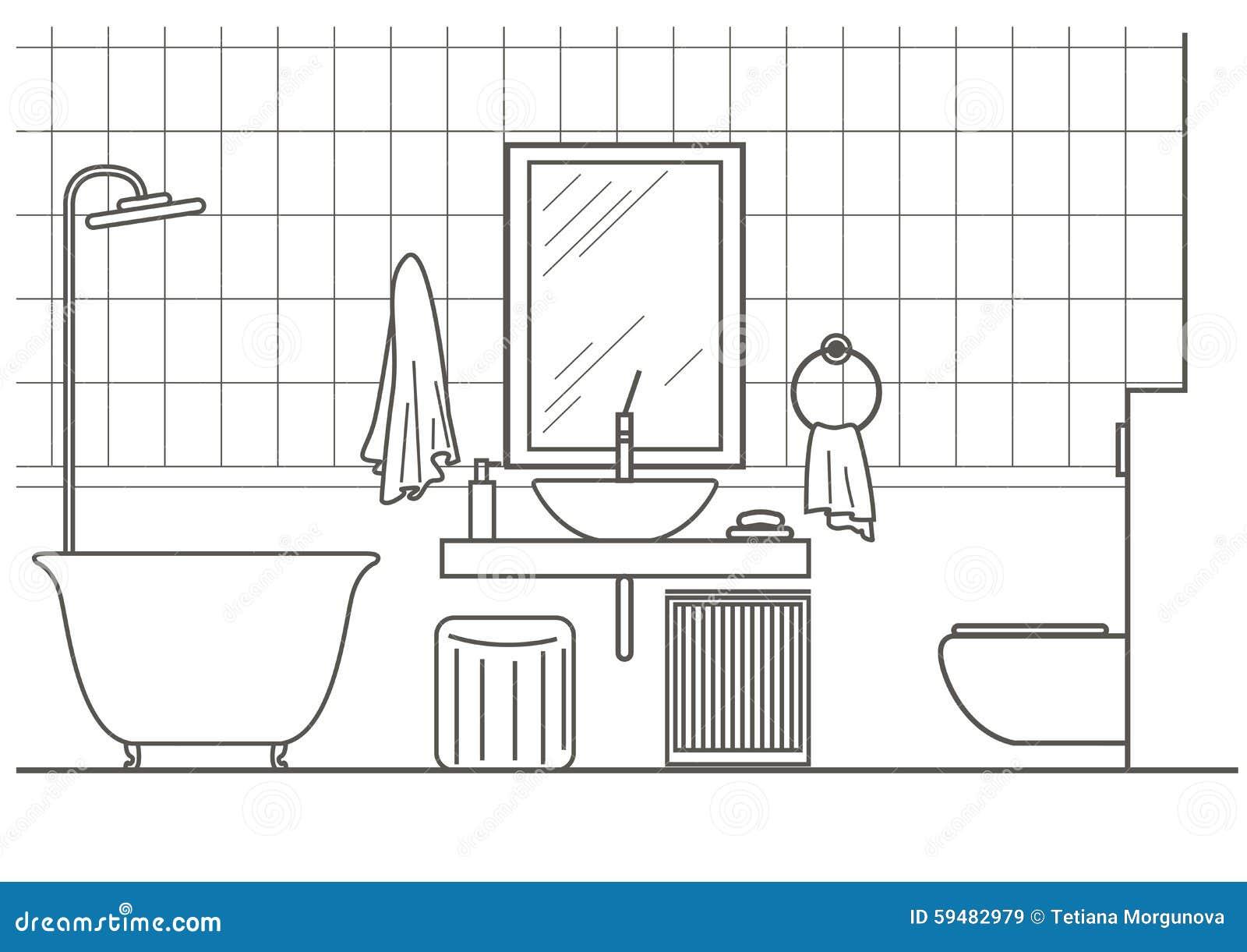 vue de face int rieure de salle de bains architecturale de croquis illustration de vecteur. Black Bedroom Furniture Sets. Home Design Ideas