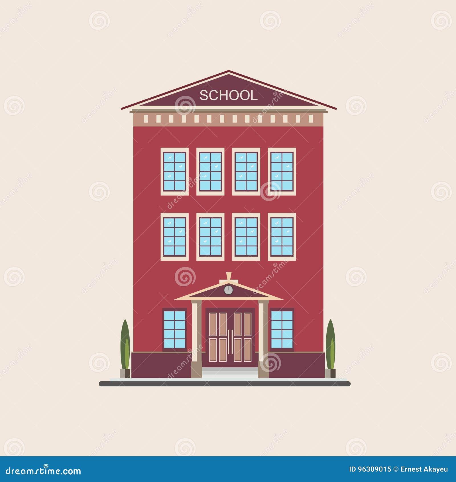 Vue de face peu élevée classique de bâtiment scolaire Illustration plate colorée de vecteur