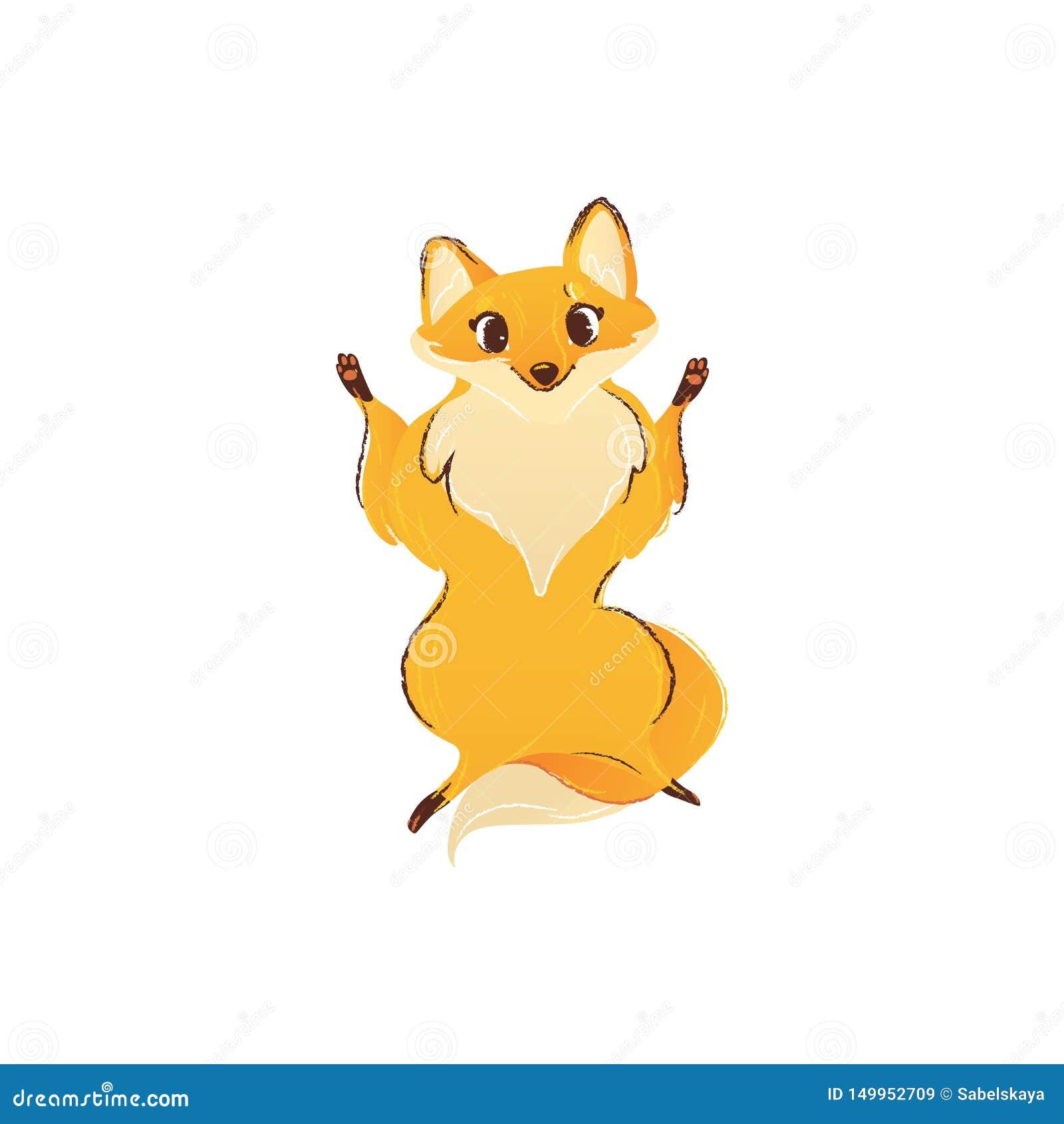 Vue de face de renard se tenant sur les jambes de derrière avec les avant augmentées vers le haut du style de bande dessinée