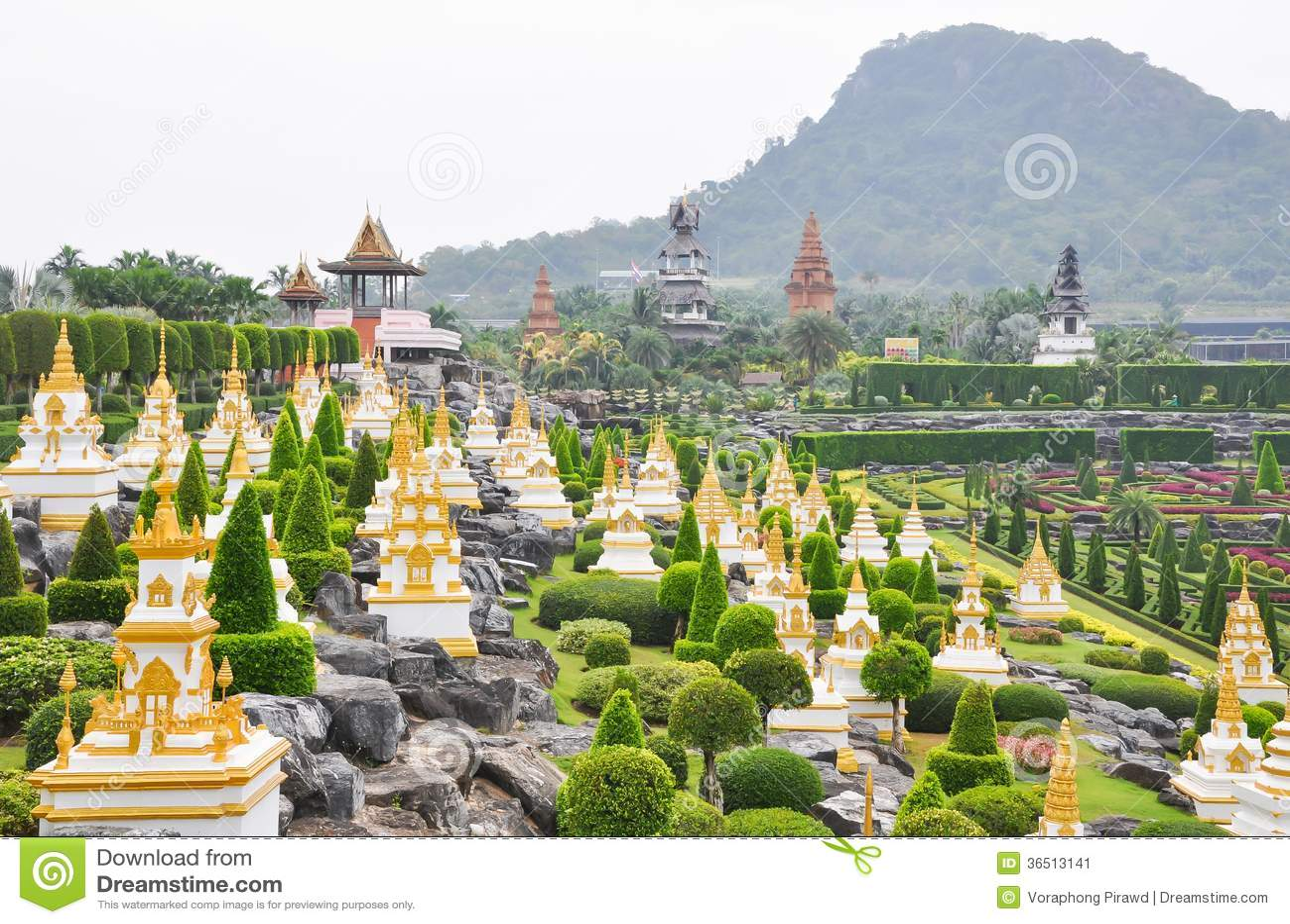 Vue de jardin au jardin de Nong Nooch, Pattaya