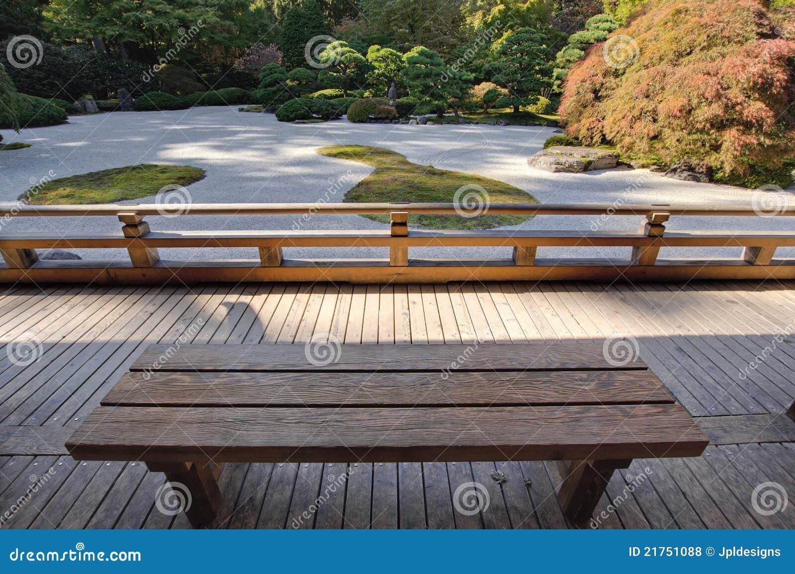 Vue de jardin japonais de sable de banc en bois photos for Jardin japonais sable