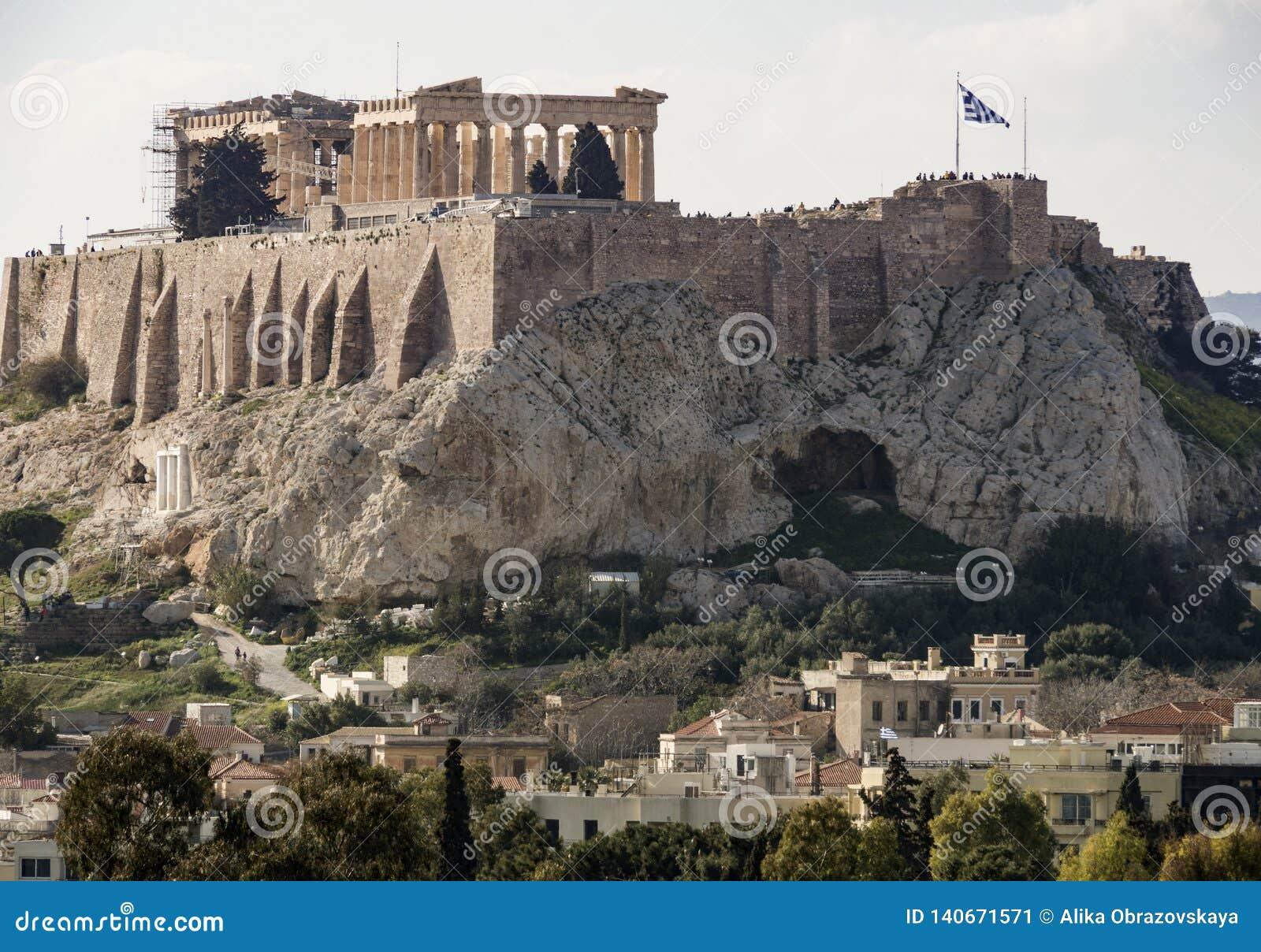 Vue de l Acropole et du parthenon un jour ensoleillé dans la ville d Athènes, Grèce
