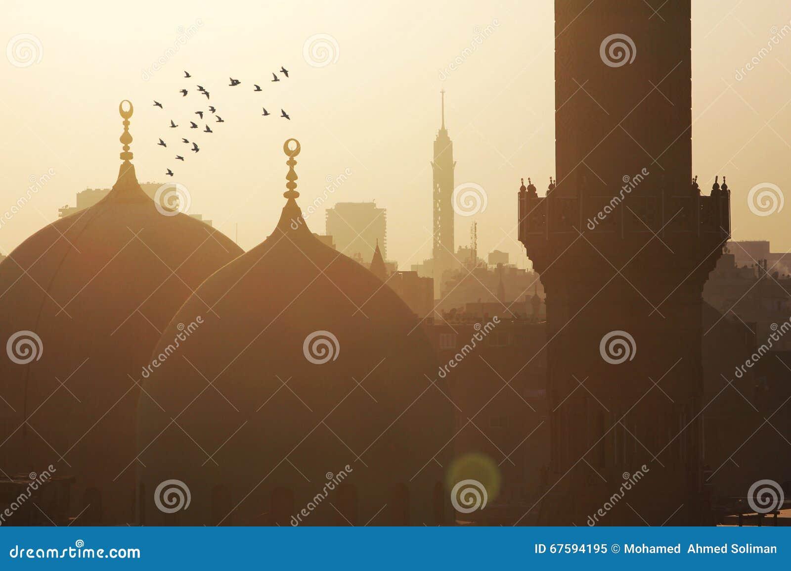 Vue de l Egypte le Caire pendant le coucher du soleil