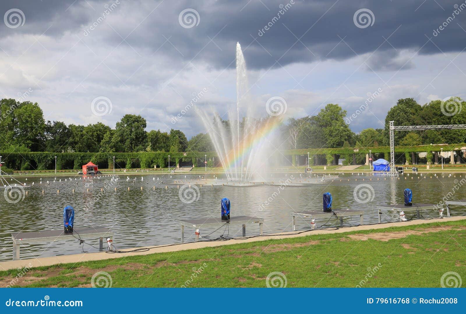 Vue de la fontaine à Wroclaw, Hall centennal, jardin public, Pologne