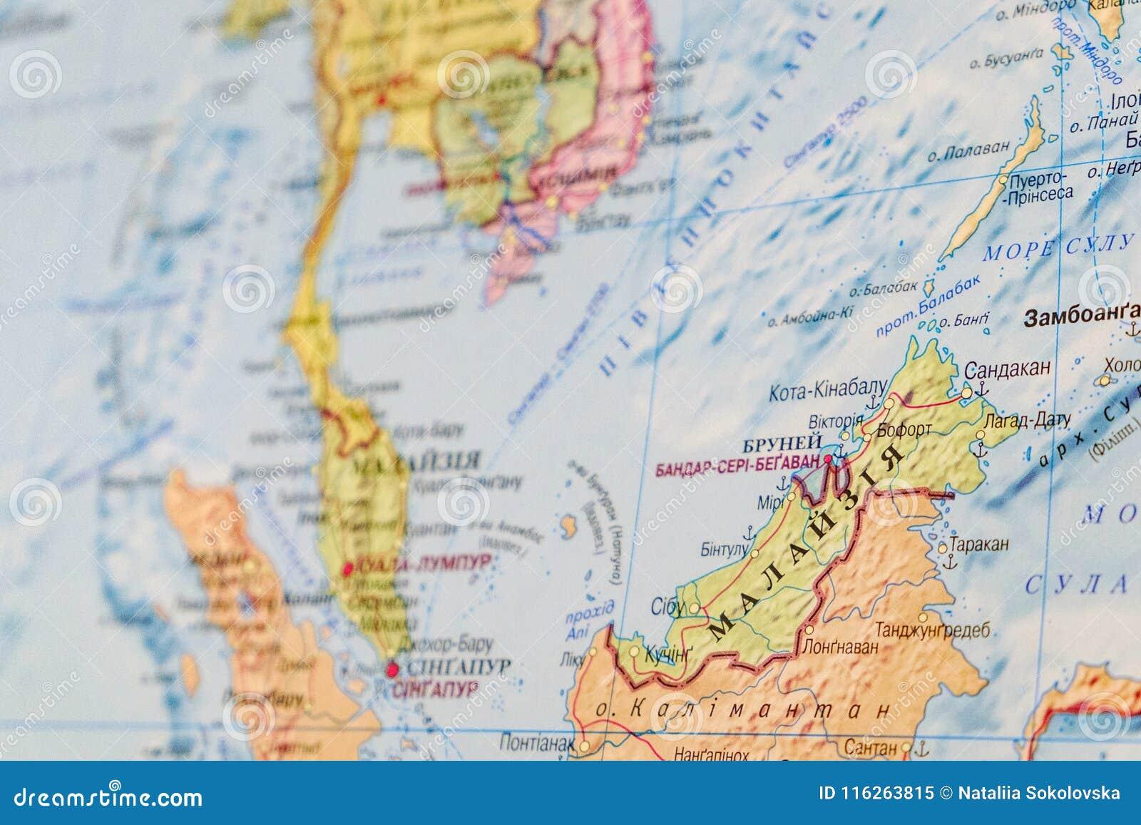 Carte Malaisie Monde.Vue De La Malaisie Sur La Carte Du Monde Carte Russe Image