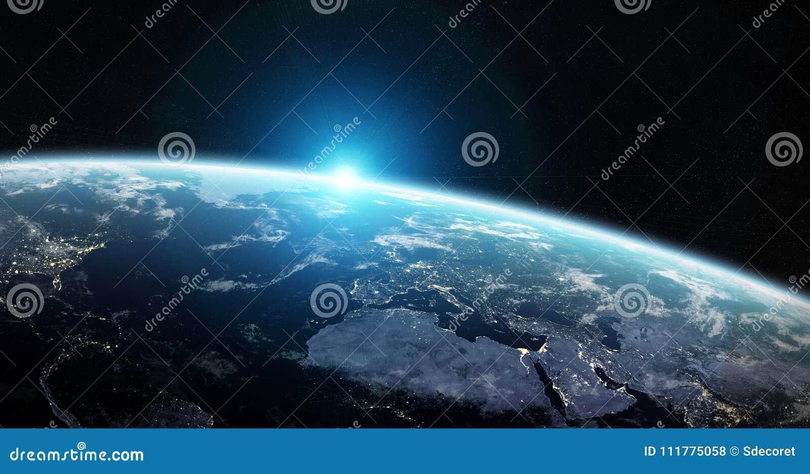 Vue de la terre bleue de planète dans des éléments de rendu de l espace 3D de ceci
